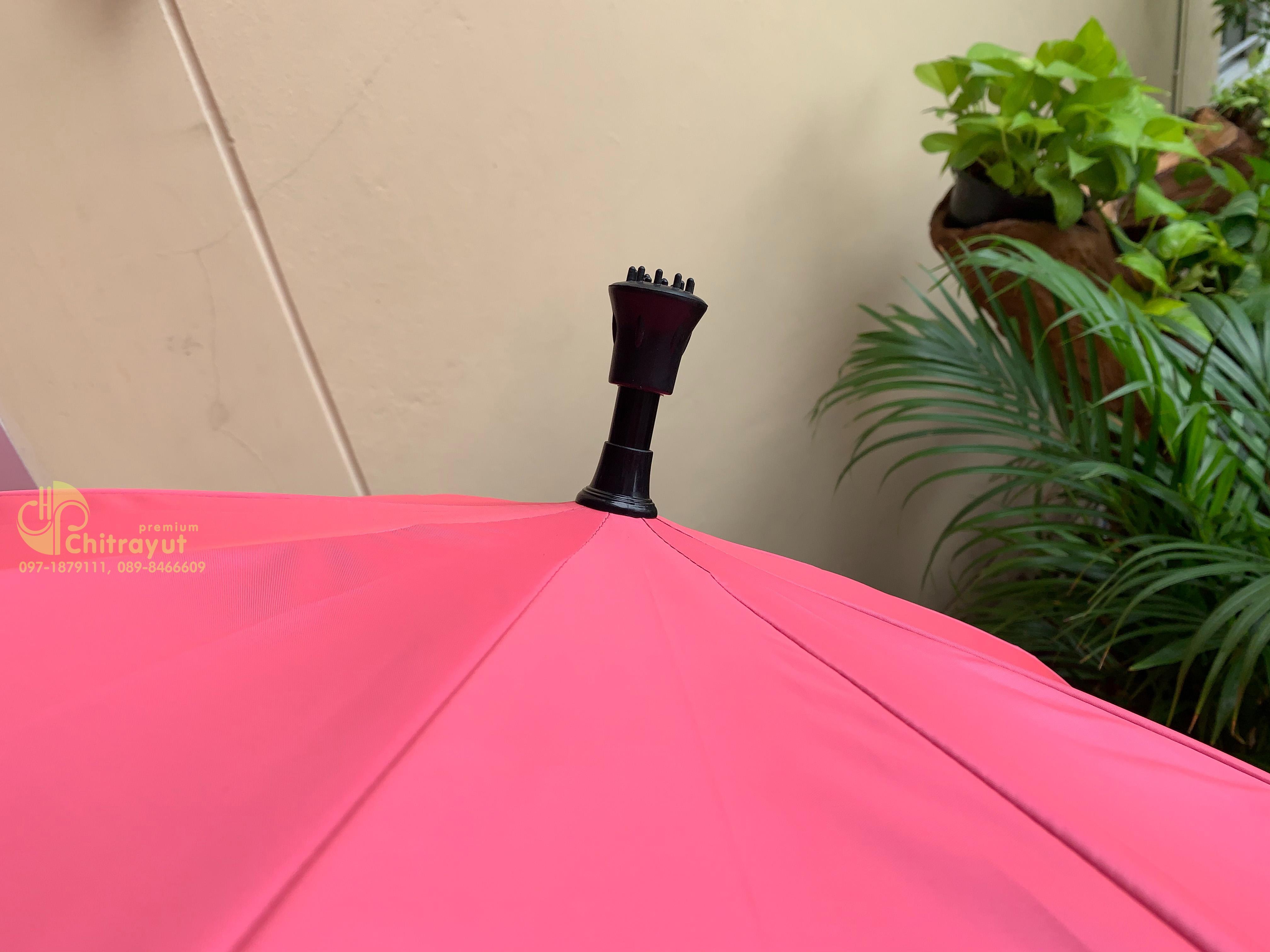 ร่ม 24 นิ้ว โครงเหล็กด้ามไม้เท้า สีพื้น